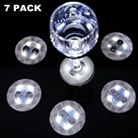 LOGUIDE LED Sticker Coaster Discs Lights for Wine Liquor Bottle Clear Glass Cup Coaster for Halloween Party, Wedding, Bar, Party Decoration 7 PCS