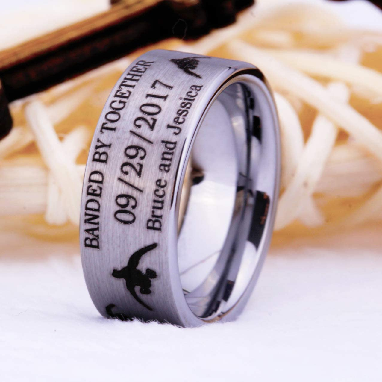 Cloud Dancer Tungsten Carbide 6mm or 8mm Pipe Satin Finish Ring Black Lasered Customizable Duck Band Design-Free Inside Engraving