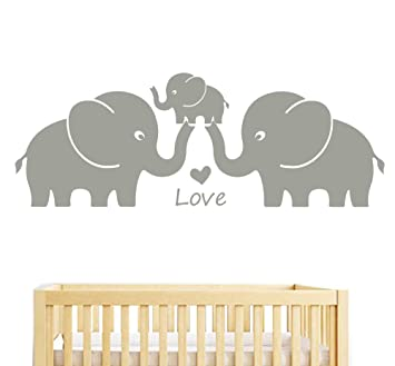 ea0d39d35504a Nursery Wall Stickers by Bdecoll,3 Elephants-Love in Family-Baby Room  Decorations,Family Wall Stickers(Gray)