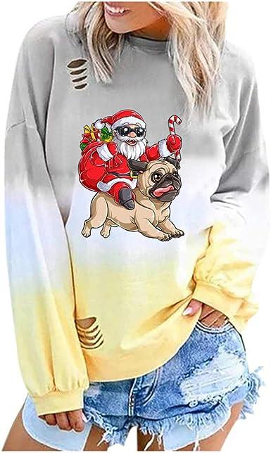 Barkoiesy T Shirt Manches Longues Noël Femme Pull Le Père