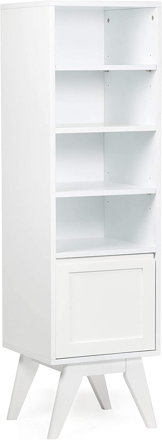 SIMPLIHOME Draper 55.9 inch H x 15.75 inch W Bath Storage Tower in Pure White with Storage Compartment and 5 shelves, for the Bathroom, Mid Century Modern