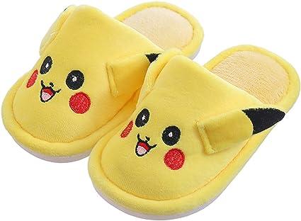 Yemao Pokemon Pikachu Enfants Pantoufles En Coton Automne Hiver Petits Garcons Filles Mignon Antiderapant Dessin Anime Interieur Plancher Maison Chaussures Yellow 36 37eu Amazon Fr Cuisine Maison
