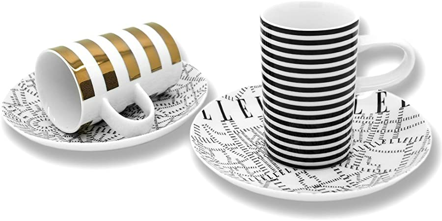 ELLE Plan de Paris Gold and Black Espresso Coffee Cup and saucer set 2pc
