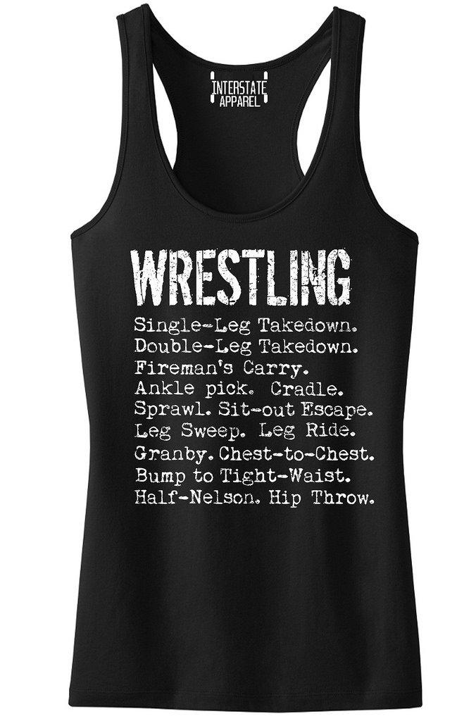 Interstate Apparel Inc Junior's Wrestling Moves Black Racerback Tank Top T-Shirt Large Black by Interstate Apparel Inc
