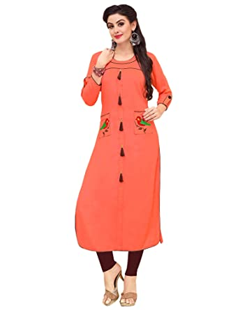 a97e668fa6 FASHION HEER Present Applique Work on Pockets Peach Color Fabric Rayon  Kurti for Women's in Ethnic wear: Amazon.in: Clothing & Accessories