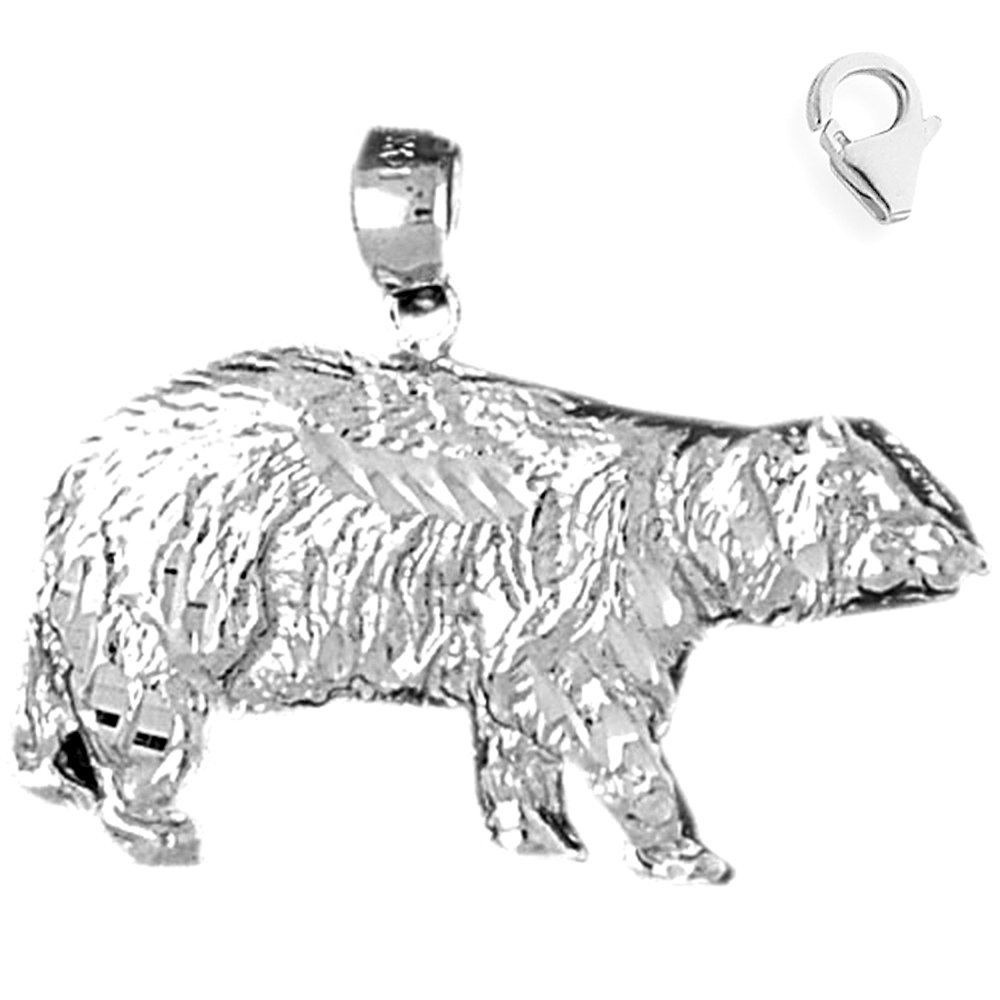 Sterling Silver 25mm Grizzley Bear with 7.5 Charm Bracelet Jewels Obsession Grizzley Bear Pendant