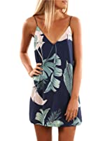 Sidefeel Women V Neck Halter Printed Casual Short Strap Mini Dress