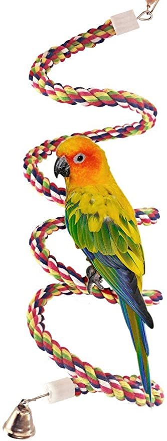 Ciyoon 1 Pack Bird Rope Perches Comfy Perch Parrot Toys for Rope Bungee Bird Toy New Bird Toys Hanging Multicolor Rope Toys Type for Rope Bungee Bird Toy