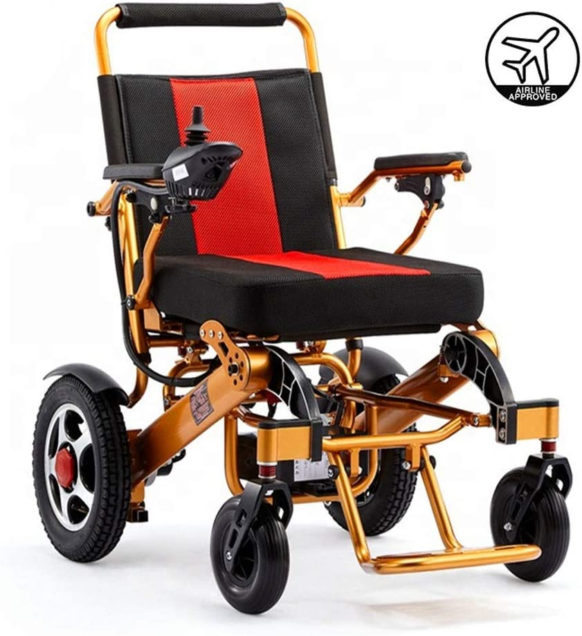 実用的 折り畳み式の軽量電動車椅子、12Aリチウム電池アルミニウム合金ゴールドフレーム電動車椅子、身体障害者用電動車椅子 福祉