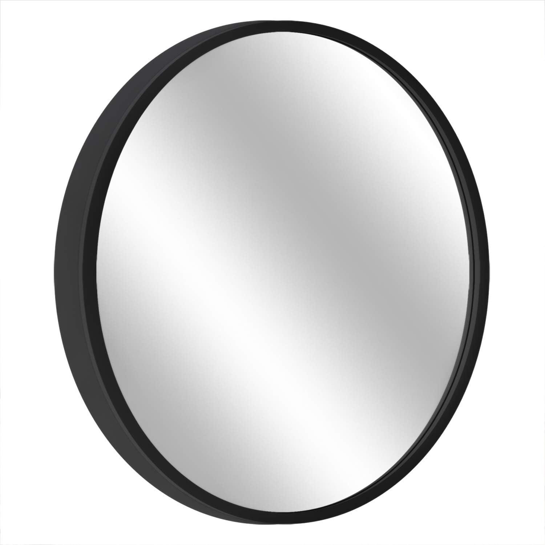 "MORIGEM Round Mirror, 19.7"" Wall Mirror, Wall-Mounted Mirror for Bedroom, Bathroom, Living Room & Entryway, 1.4"" Metal Frame Vanity Mirror, Black"