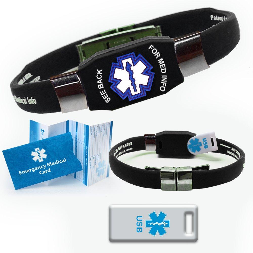 Waterproof ELITE USB black silicone medical alert ID bracelet with 2 GB USB (Black)