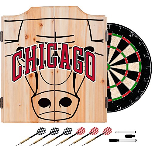 Trademark Gameroom NBA7010-CB2 NBA Dart Cabinet Set with Darts & Board - Fade - Chicago Bulls by Trademark Global