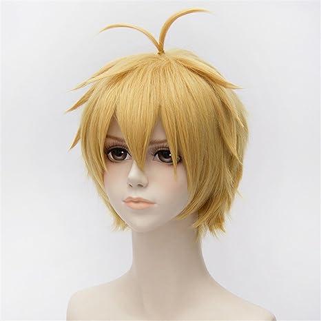 Unisex oro amarillas peluca Corto lisa pelo Anime Completo pelucas sintéticas: Amazon.es: Belleza