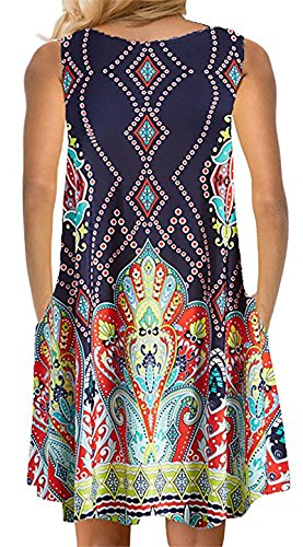 82babc739ea YeeATZ Women s Summer Casual Sleeveless Floral Printed Swing Dress Sundress  with Pockets