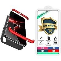 """Kit Capa Capinha Anti Impacto 360 Para Xiaomi Redmi 7 Normal Com Tela 6.26"""" Polegadas - Case Acrílica Fosca E Acabamento Macio Com Película De Vidro Temperado - Danet (Preto com vermelho)"""