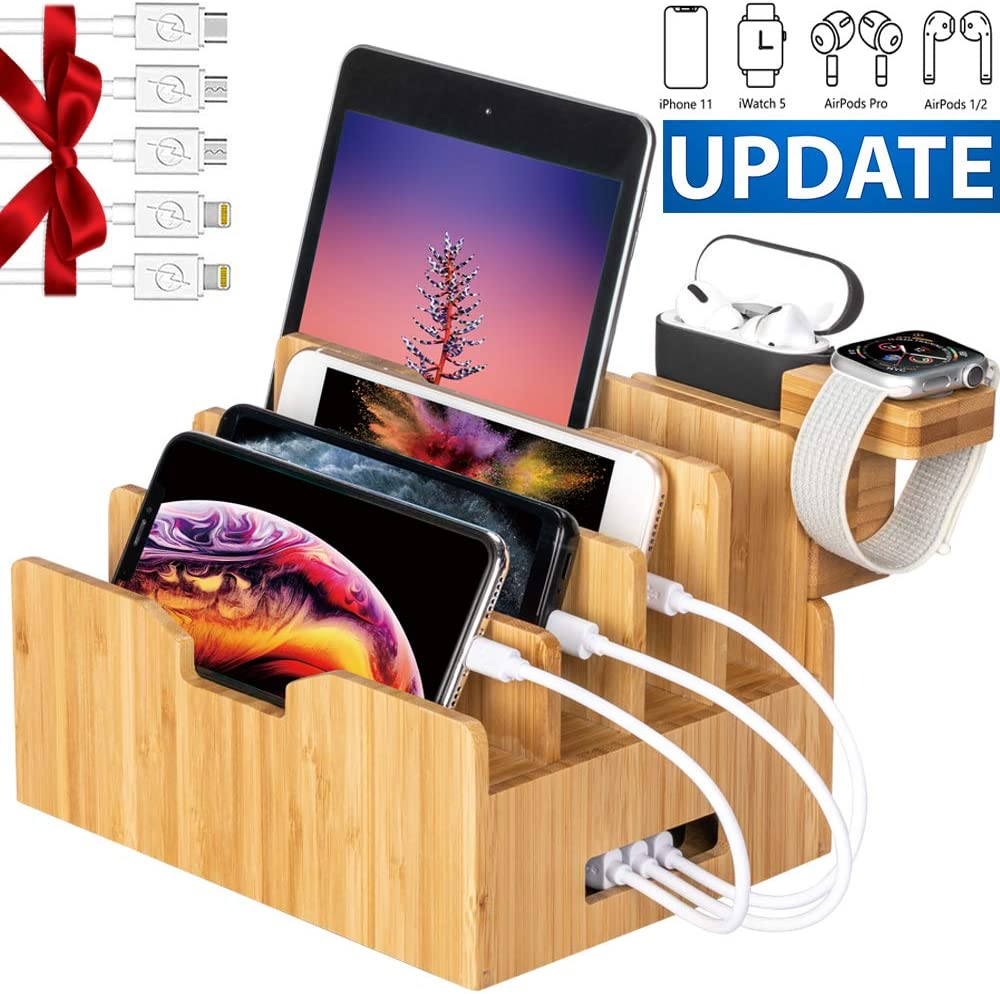 Bamboo Charging Station for Multiple Devices with Integrated iWatch & AirPod Stand, Desktop Charging Docking Station Organizer for Cellphone, Tablet, 5 Charging Cables Included, No Power Supply