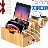 Bamboo Charging Station forMultipleDevices with Integrated iWatch & AirPod Stand, Desktop Charging Docking Station Organizer for Cellphone, Tablet(4 Charging Cables Included, No USB Charger)
