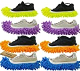 M-jump 8 PCS 4 Pairs duster Mop Slippers Shoes Cover , Multi Function Chenille Fibre Washable Dust Mop Slippers Floor Cleaning Shoes for Bathroom, Office, Kitchen, House Polishing Cleaning