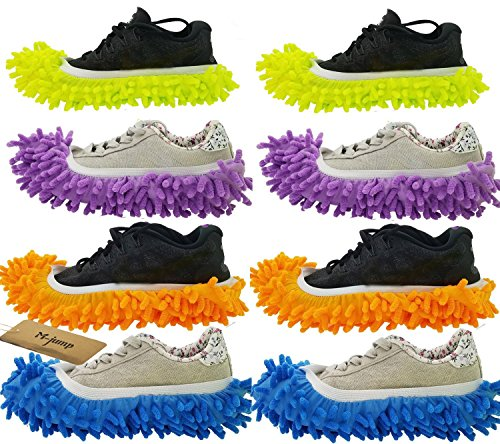 M-jump 8 PCS 4 Pairs duster Mop Slippers Shoes Cover , Multi Function Chenille Fibre Washable Dust Mop Slippers Floor Cleaning Shoes for Bathroom, Office, Kitchen, House Polishing ()