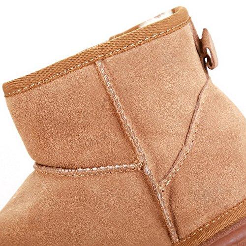 Amoonyfashion Kvinners Lukket Runde Toe Lave Hæler? Ku Skallen Patch Solide Støvler Med Tegnmønster Kamel