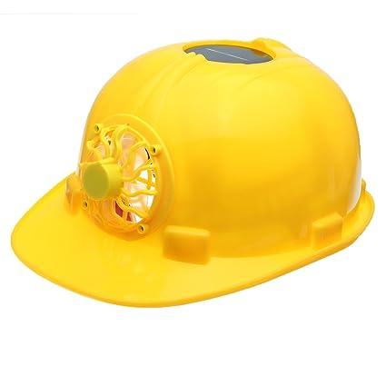 MASUNN Amarillo Energía Solar Seguridad Casco Trabajo Hard Hat Panel Solar Ventilador De Refrigeración