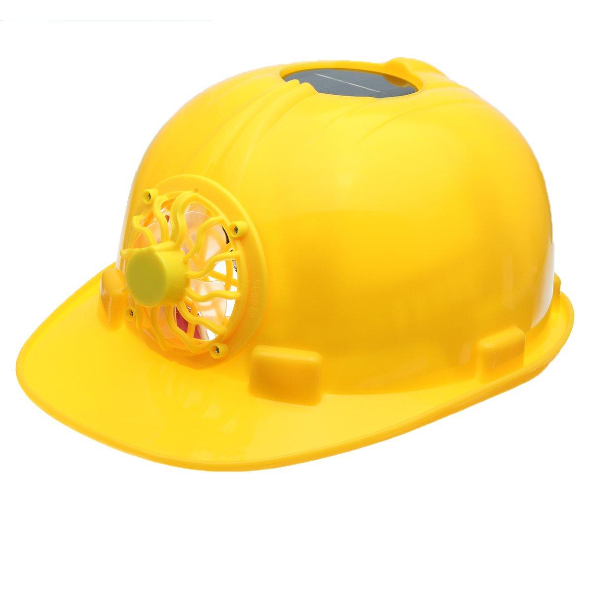 OlogyMart Yellow Solar Power Safety Helmet Work Hard Hat Solar Panel Cooling Fan