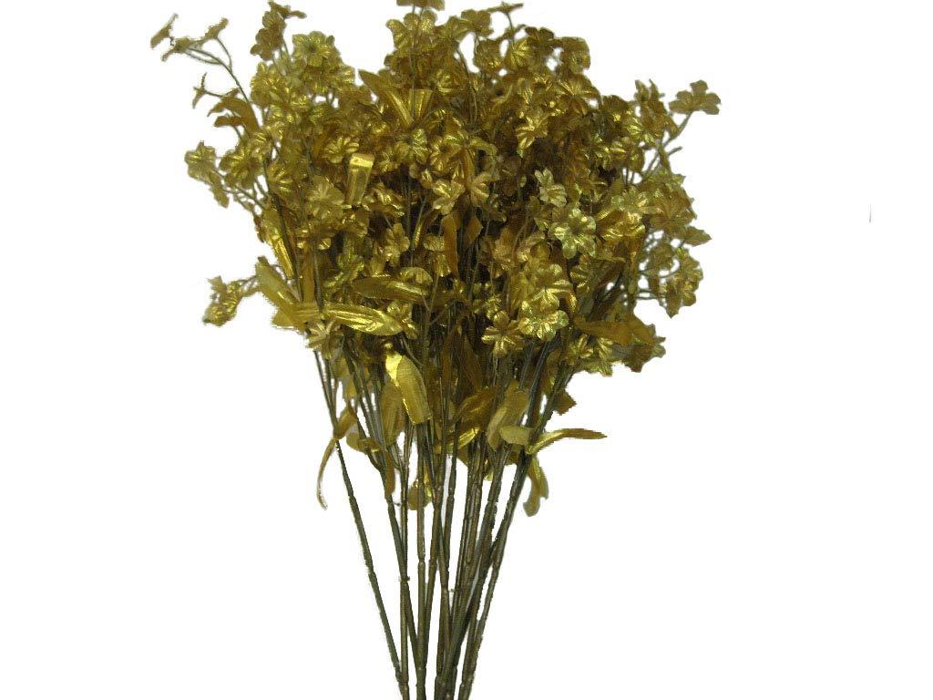 "silk flower arrangements 12 sprays ruffle baby breath filler artificial silk flowers 18"" stem 828 gold"