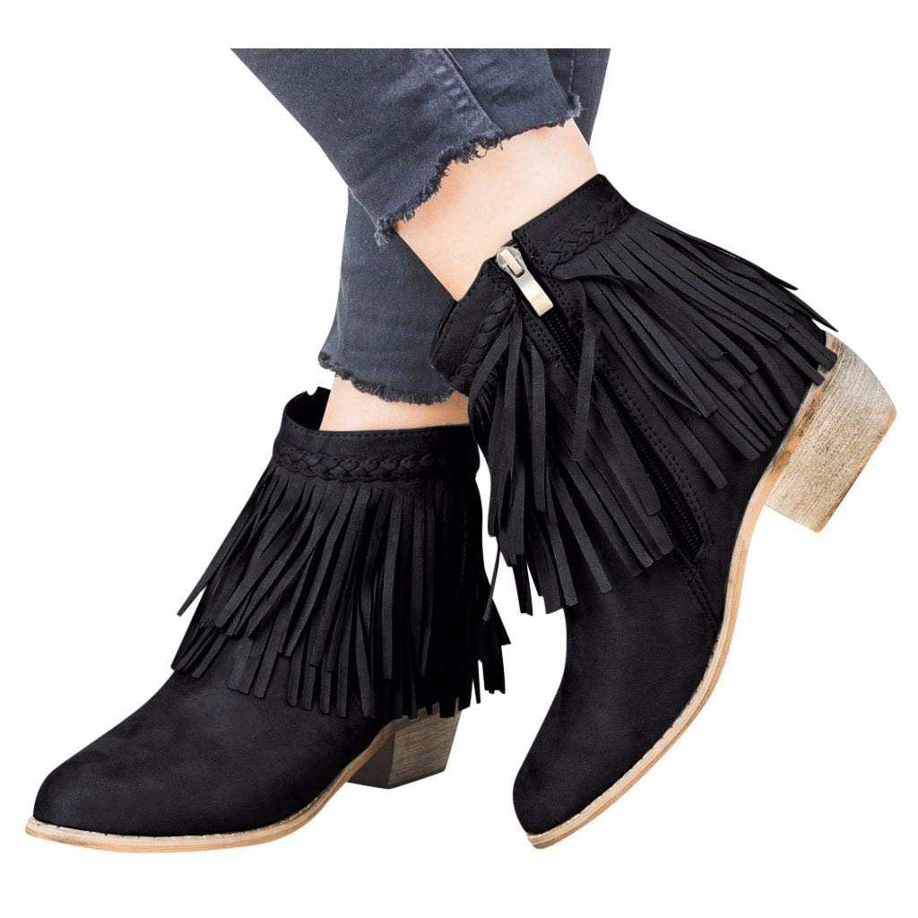 Women Chunky Booties Slip-on Round Toe Tassel Thick Heel Zipper Ankle Short Boots Ladies Roman Shoe Western Ankle Boots (Black, US:6) by Aritone - Women Shoes