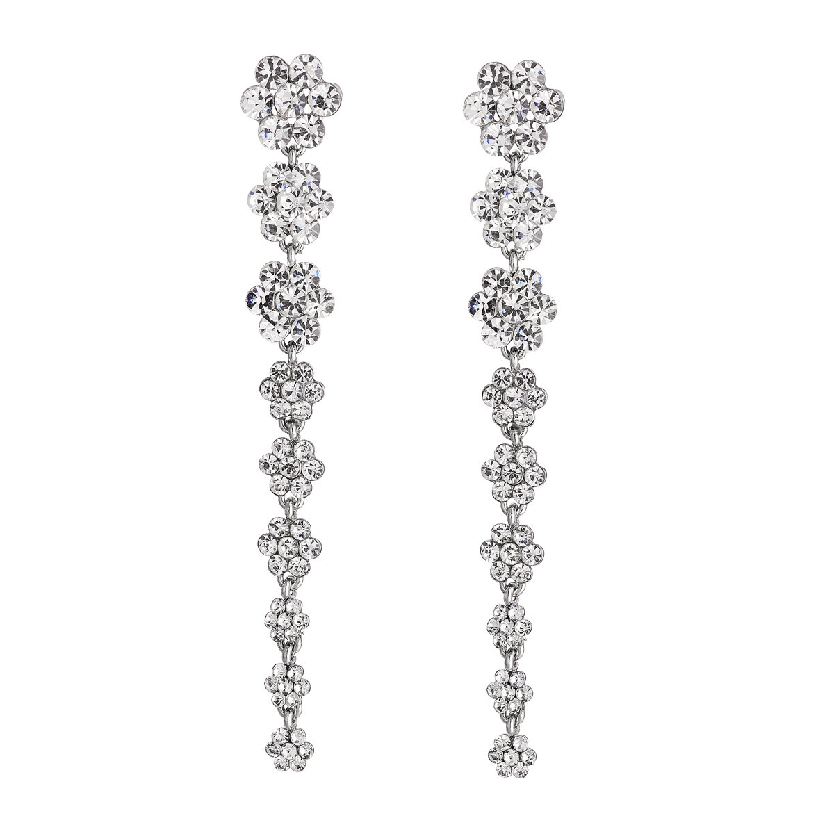 FF Super Long Earrings for Wedding Flower Rhinestone Earrings