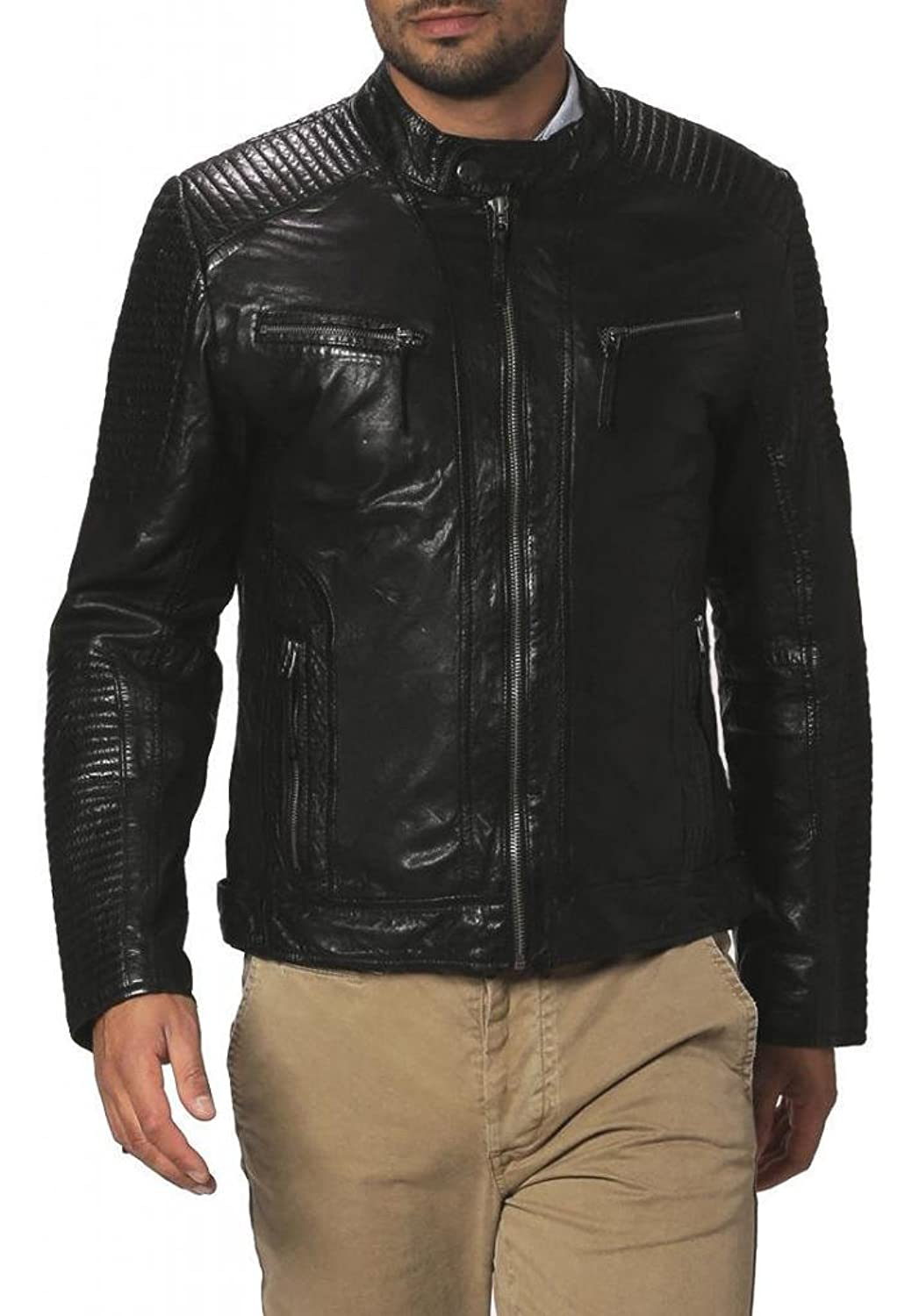 Men Leather Jacket Biker Motorcycle Coat Slim Fit Outwear Jackets AUK036