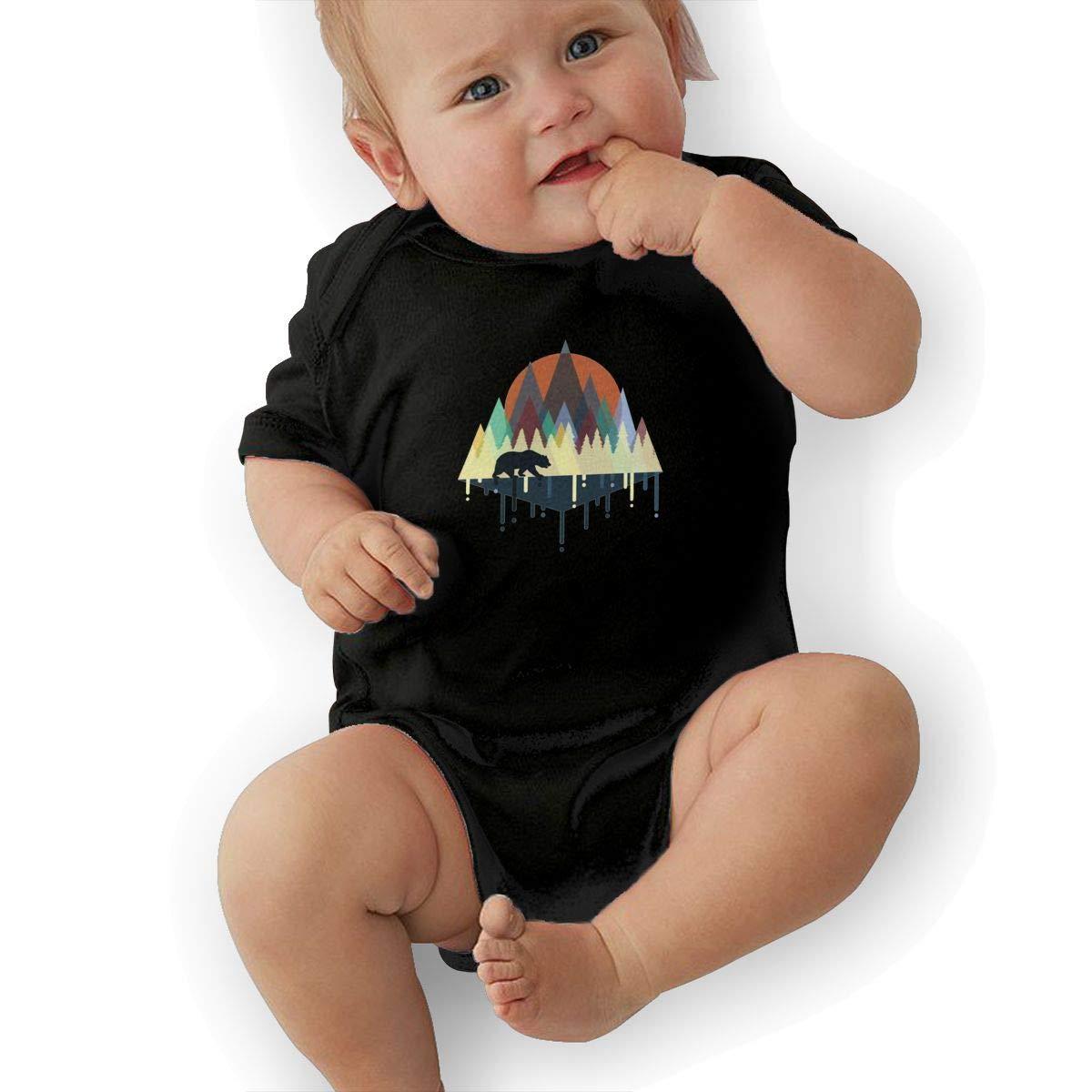 Coollifea Bear Trail Baby Romper 0-18 Months Newborn Baby Girls Boys Layette Rompers Black
