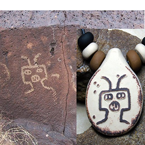 Alien UFO Petroglyph Pendant Necklace with Handmade Beads