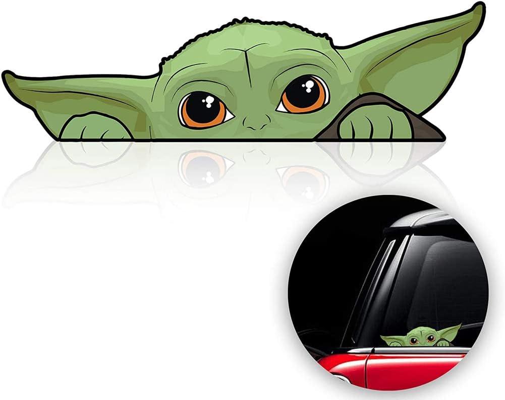 2 Pack Baby Yoda Car Decal, Baby Yoda Sticker The Mandalorian Car Stickers for Skateboard Luggage Motorcycle Guitar Laptop Bike Bumper