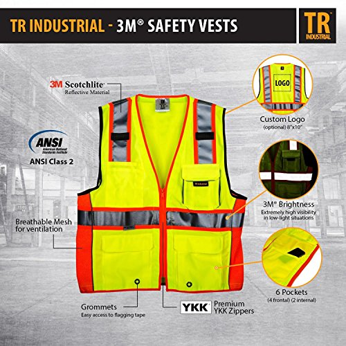 TR Industrial TR55-3M-M Class 2 3M Safety Vest with Pockets and Zipper, Medium Photo #5