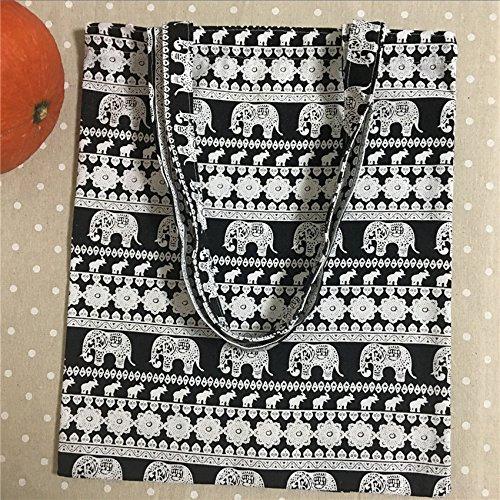 Tela in cotone Yile Eco shopping Tote borsa a tracolla nero bianco elefante 814