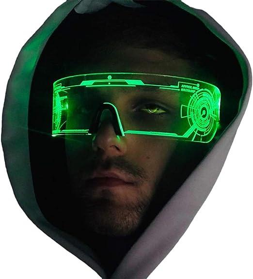 Occhiali da visiera Navigatee Cyberpunk festival Performance a LED con luce LED per il futuristico per Halloween