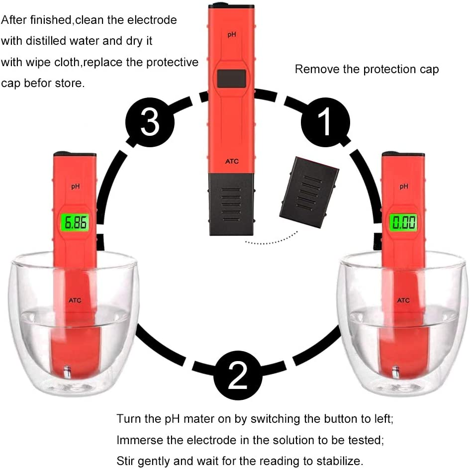 PH Meter School Education etc(Red) Digital PH Meter // 0.01 PH high Precision Water Quality Tester//PH Tester,0-14 pH Measurement Range for Household Drinking Water,Swimming Pools ATC Hydroponics