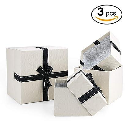 VEESUN Cajas de Regalo, 3pcs Grandes Cartón Bolsas de Regalo Cajas de Papel Kraft con Tapas Personalizada Papel de Regalo para Aniversario Boda Fiesta ...