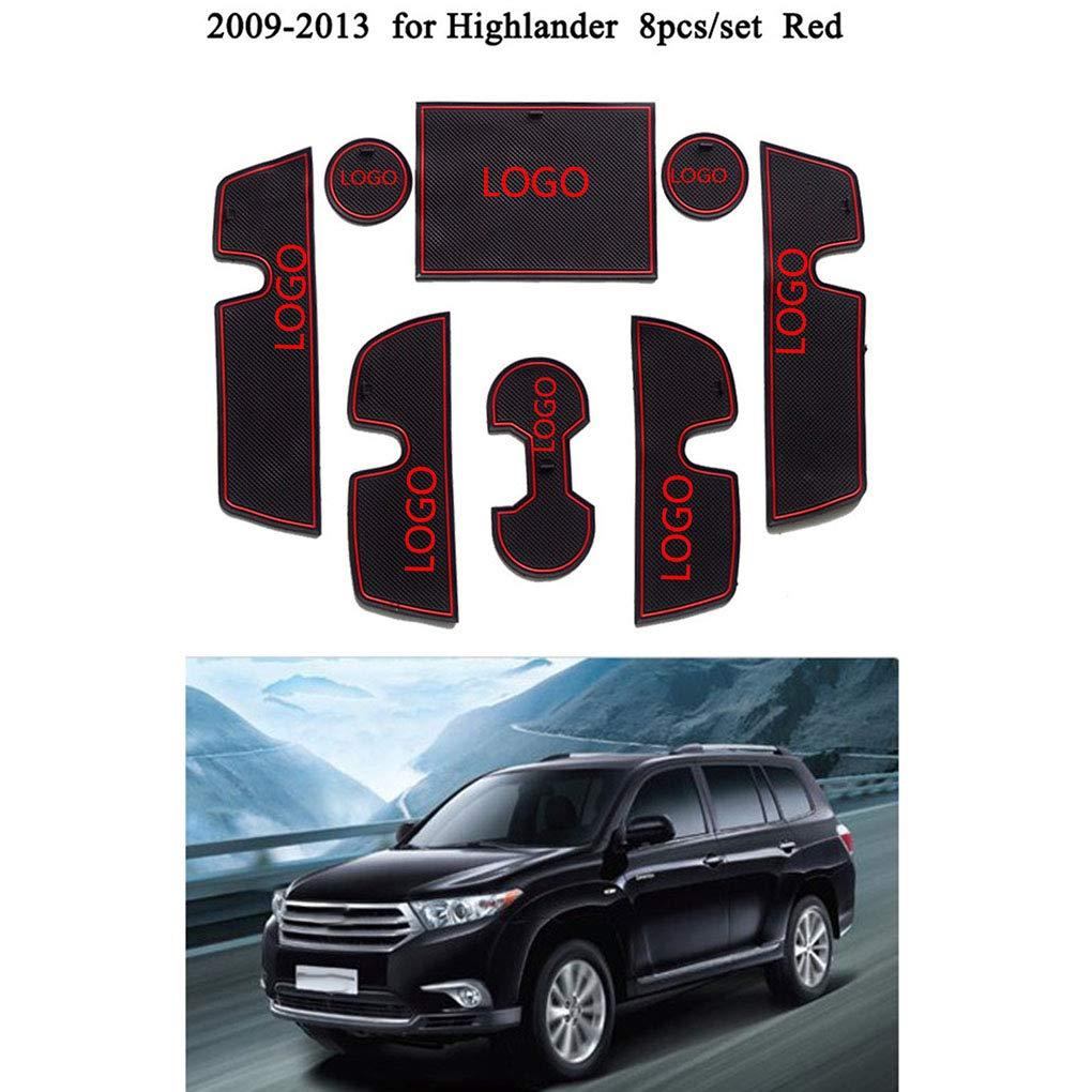 Ben-gi Reemplazo 8pcs para la Ranura Toyota Highlander 2009-2013 Puerta Puerta Pad Mat Antideslizante Copa Titular Accesorios para automóviles