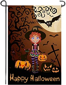 Shmbada Happy Halloween Burlap Garden Flag, Premium Fabric Double Sided, Welcome Seasonal Fall Witch Terror Cat Grimace Pumpkin Owl Outdoor Decorative Banner for Home Yard Porch, 12.5 x 18.5 Inch