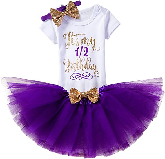 Bebé Niñas 1er / 2 ° Cumpleaños Princesa Trajes de Fiesta 3pcs ...