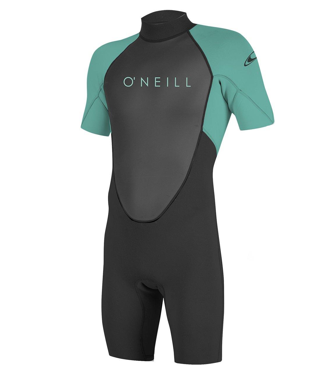 O'Neill Youth Reactor-2 2mm Back Zip Short Sleeve Spring Wetsuit, Black/Aqua, 4