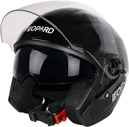 Noir Mat pour Scooter Chopper de Moto Homme et Femme Demi Dot ECE Homologu/é Helmets Demi-Jet Helmet Pilot Retro Scooter Chopper Casques Moto Jet-Vintage -LWAJ 57-62cm