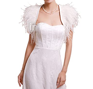 c77ee48128be EllieHouse Women's Feather Wraps Wedding Bridal Bolero Jacket WJ24 Ivory  Size 2