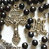 elegantmedical Handmade Black AAA9-10mm Real Pearl & Rose Beads 5 Decade Rosary Cross Crucifix Necklace Box Mens Womens Religions Gifts