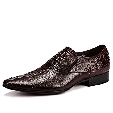 LYMYY Zapatos de vestir para hombres de negocios Patrón de cocodrilo Piel en punta Zapatos formales Zapatos de boda sin cordones Mocasines de trabajo: ...