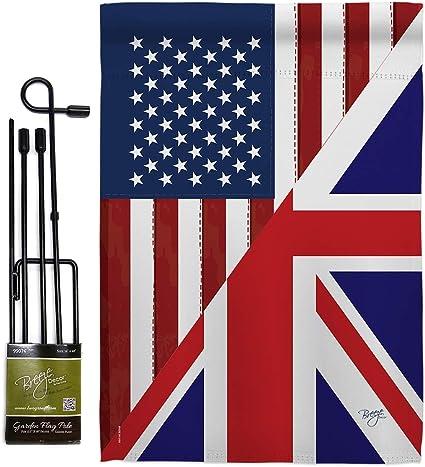 Amazon Com Breeze Decor Gs108380 Bo Us Uk Friendship Flags Of The World Impressions Decorative Vertical 13 X 18 5 Double Sided Garden Flag Set Metal Pole Hardware Garden Outdoor