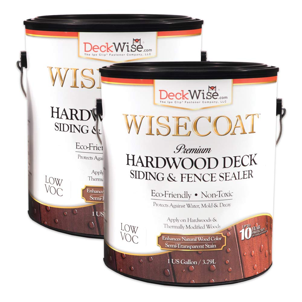 DeckWise WiseCoat Hardwood Deck, Siding & Fence Semi-Transparent Waterproofing Sealer (Pack of 2, 1-Gallon Each)