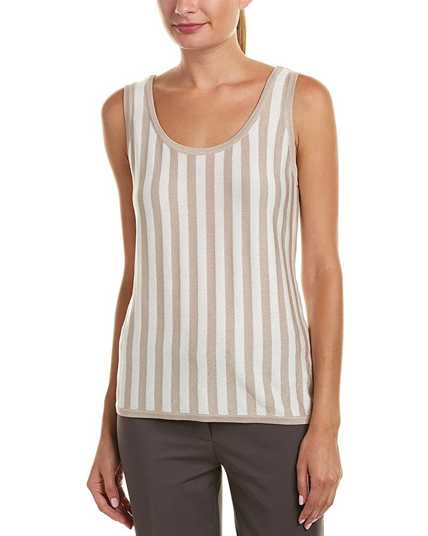 73a3434cf0fda6 Amazon.com  Anne Klein Womens Striped Scoop Neck Tank Top - Striped Knit   Clothing