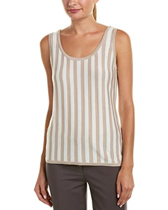 96651467c17ce6 Anne Klein Women s Striped Scoop Neck Tank Top - Striped Knit Oyster  Shell White Large